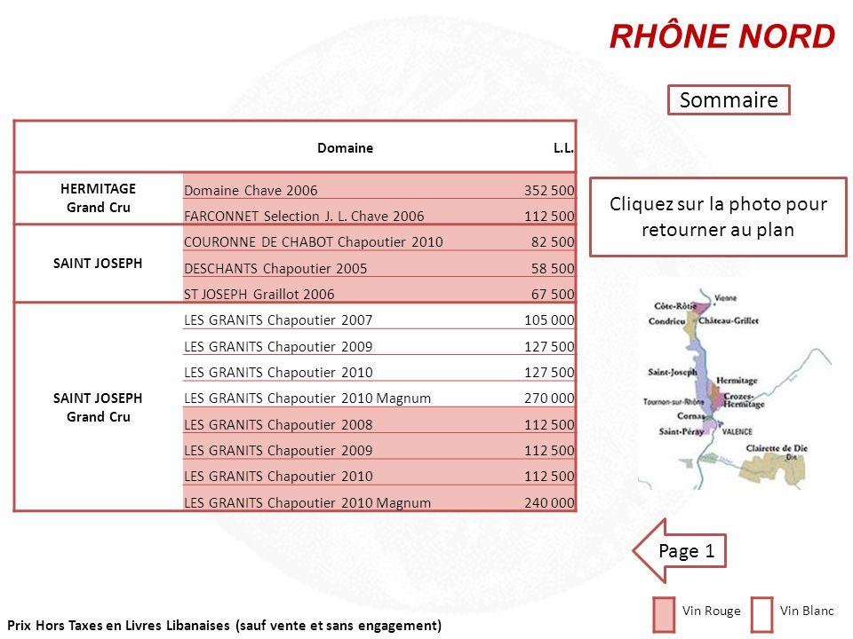 Prix Hors Taxes en Livres Libanaises (sauf vente et sans engagement) Cliquez sur la photo pour retourner au plan RHÔNE NORD Sommaire Vin RougeVin Blan