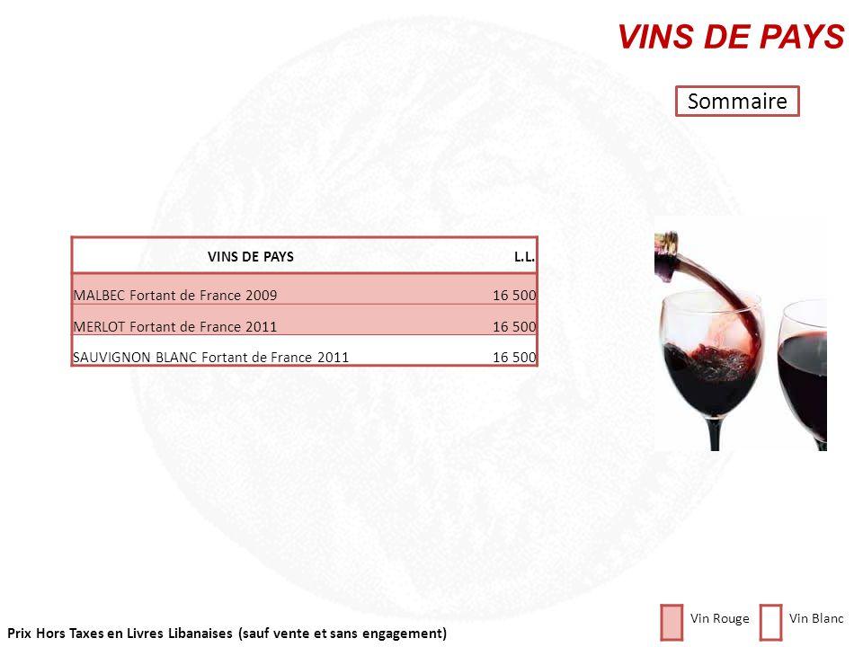 Prix Hors Taxes en Livres Libanaises (sauf vente et sans engagement) Cliquez sur la photo pour retourner au plan RHÔNE SUD Sommaire Vin RougeVin Blanc