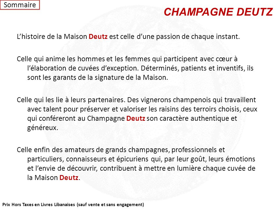 LE CHAMPAGNE Sommaire
