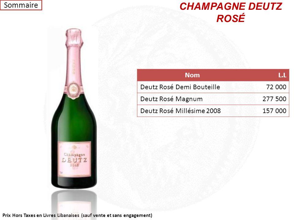 Prix Hors Taxes en Livres Libanaises (sauf vente et sans engagement) CHAMPAGNE DEUTZ BRUT NomL.L Deutz Brut Classic Demi Bouteille57 000 Deutz Brut Cl