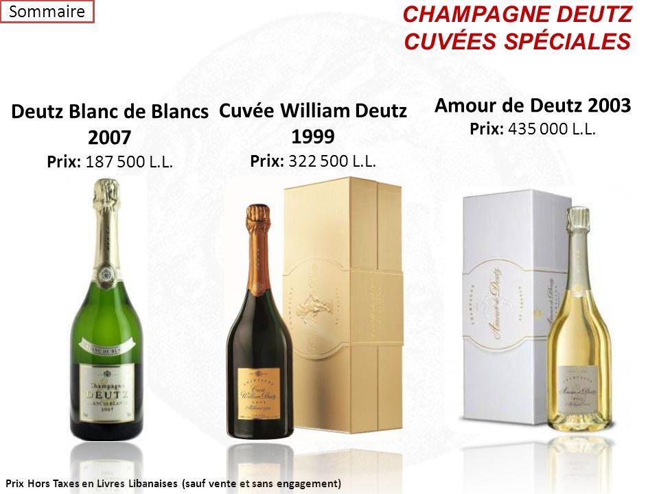 Prix Hors Taxes en Livres Libanaises (sauf vente et sans engagement) CHAMPAGNE DEUTZ ROSÉ NomL.L Deutz Rosé Demi Bouteille72 000 Deutz Rosé Magnum277