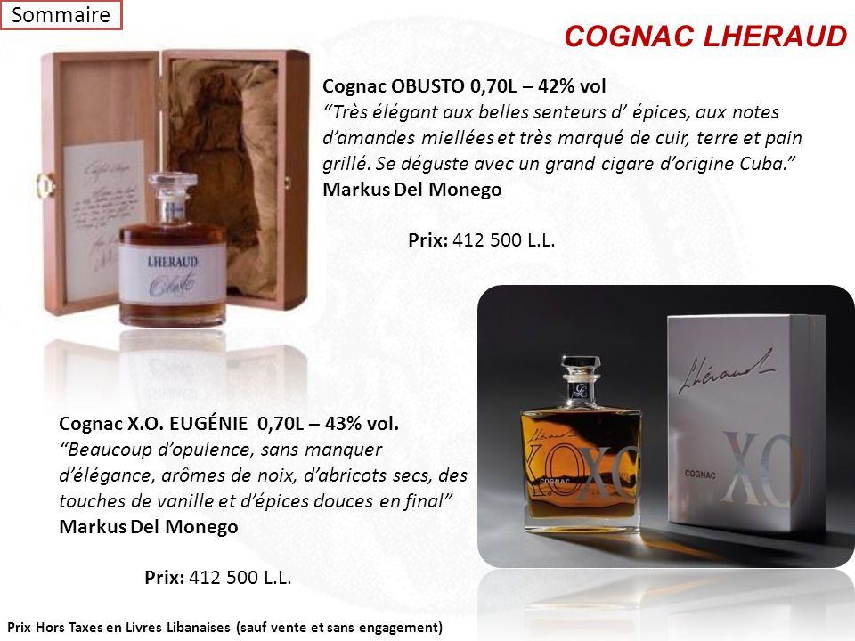 """Prix Hors Taxes en Livres Libanaises (sauf vente et sans engagement) Carafe ART DU TEMPS – Cognac Lot N 0973 0,70L – 44%vol """"Beaucoup de rondeur, des"""