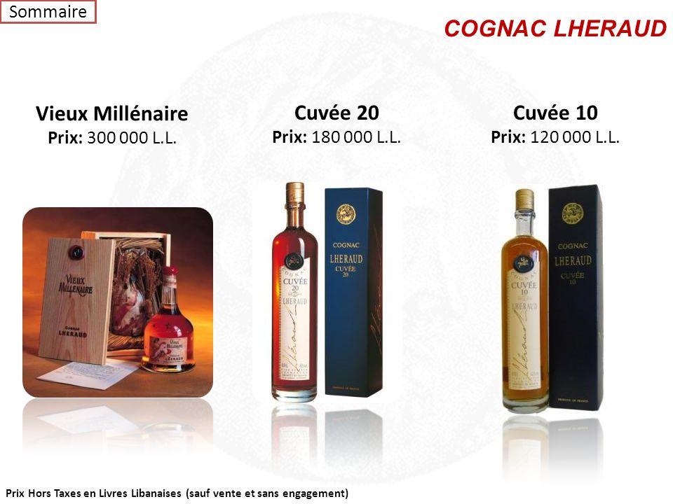 """Prix Hors Taxes en Livres Libanaises (sauf vente et sans engagement) Cognac OBUSTO 0,70L – 42% vol """"Très élégant aux belles senteurs d' épices, aux no"""