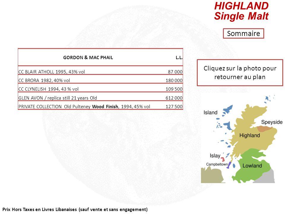 Prix Hors Taxes en Livres Libanaises (sauf vente et sans engagement) Cliquez sur la photo pour retourner au plan CAMPBELTOWN Single Malt Sommaire GORD