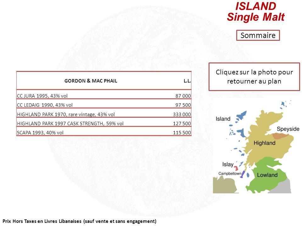 Prix Hors Taxes en Livres Libanaises (sauf vente et sans engagement) Cliquez sur la photo pour retourner au plan HIGHLAND Single Malt Sommaire GORDON