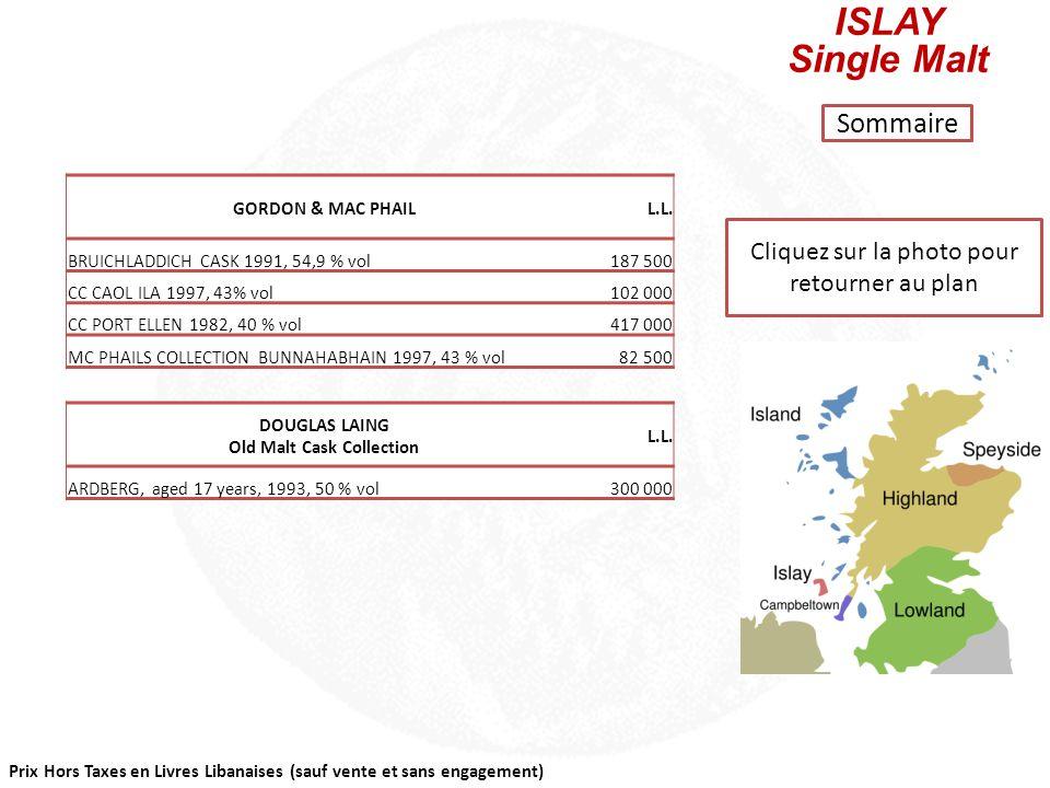 Prix Hors Taxes en Livres Libanaises (sauf vente et sans engagement) Cliquez sur la photo pour retourner au plan ISLAND Single Malt Sommaire GORDON &