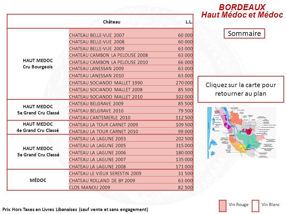 Cliquez sur la région que vous souhaitez consulter SAINT-ESTEPHE PAUILLAC SAINT-JULIEN HAUT MEDOC MARGAUX PESSAC LEOGNAN SAUTERNES SAINT-EMILION POMER