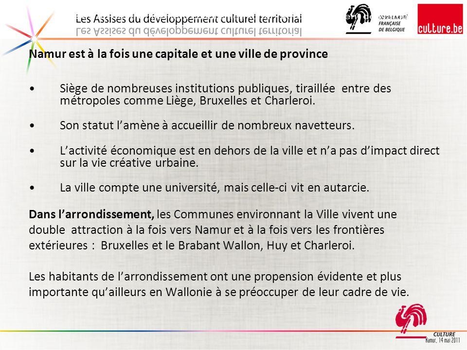 On constate que la Communauté française et la Province investissent largement sur le territoire de la Commune de Namur.