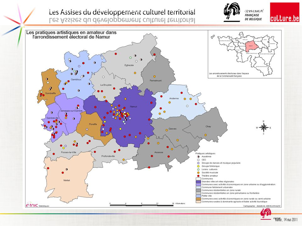 En raison de cette précision, l'ensemble des subventions de la Communauté française dans l'arrondissement de Namur peut être représenté de la manière suivante :