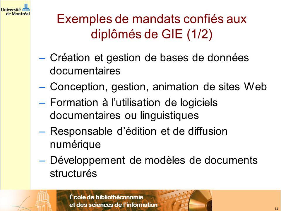 École de bibliothéconomie et des sciences de l'information 14 Exemples de mandats confiés aux diplômés de GIE (1/2) –Création et gestion de bases de d