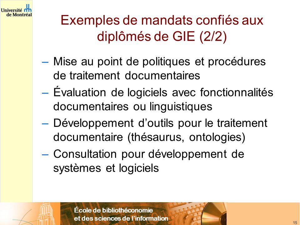 École de bibliothéconomie et des sciences de l'information 15 Exemples de mandats confiés aux diplômés de GIE (2/2) –Mise au point de politiques et pr