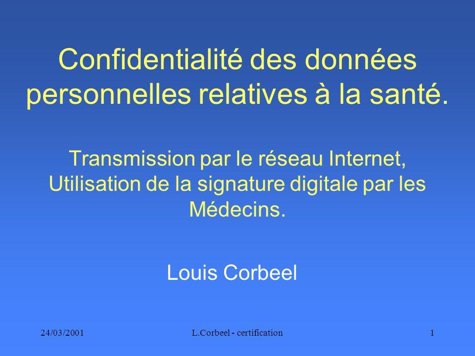 24/03/2001L.Corbeel - certification1 Confidentialité des données personnelles relatives à la santé.