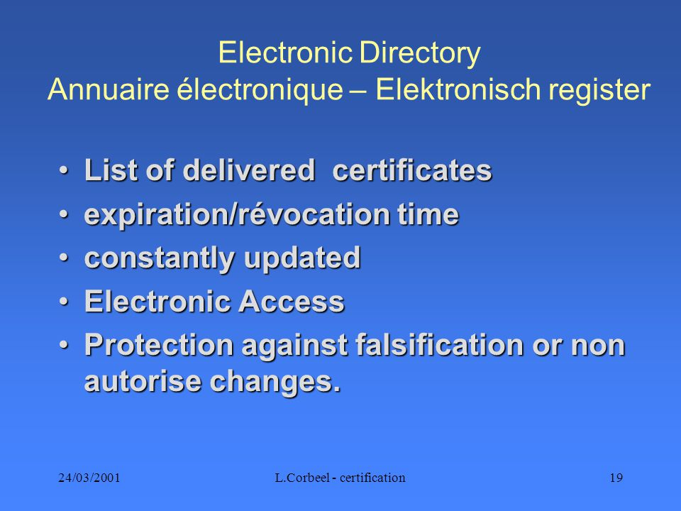 24/03/2001L.Corbeel - certification19 Electronic Directory Annuaire électronique – Elektronisch register List of delivered certificatesList of deliver