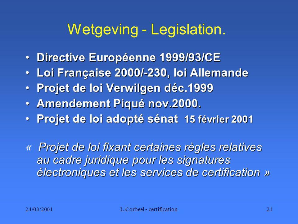 24/03/2001L.Corbeel - certification21 Wetgeving - Legislation.