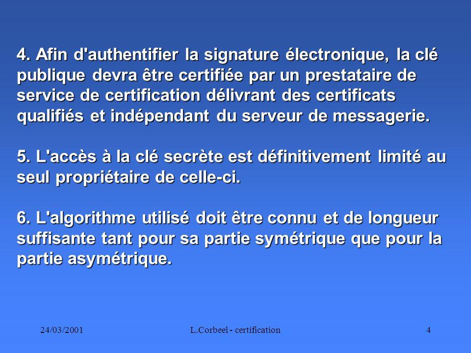 24/03/2001L.Corbeel - certification25 Médecin.(Génération clés.) Conseil provincial.