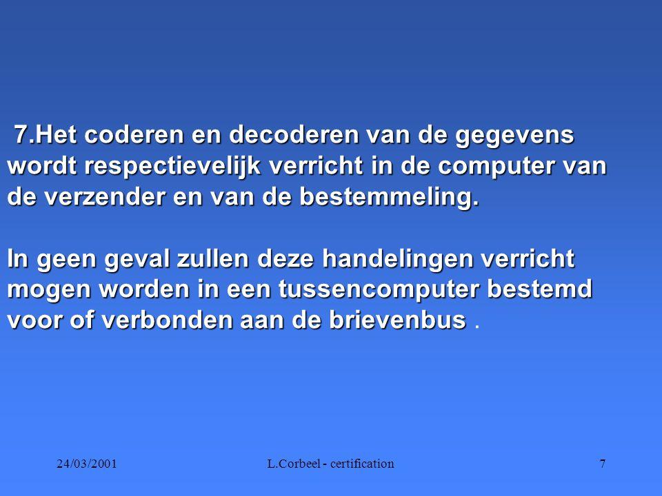 24/03/2001L.Corbeel - certification7 7.Het coderen en decoderen van de gegevens wordt respectievelijk verricht in de computer van de verzender en van de bestemmeling.
