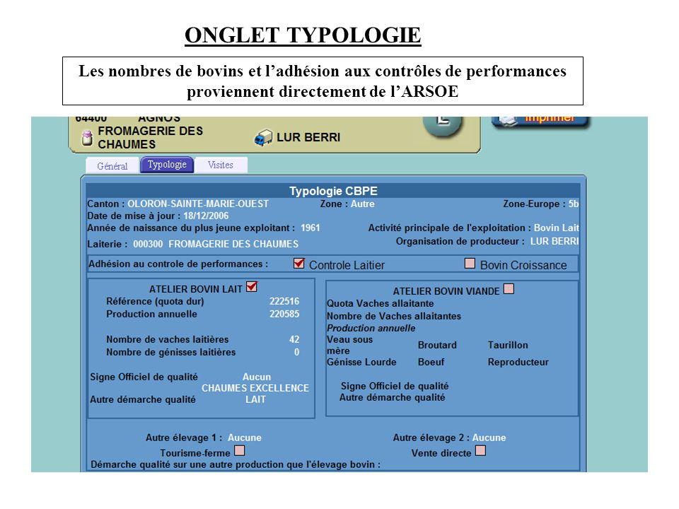 ONGLET TYPOLOGIE Les nombres de bovins et l'adhésion aux contrôles de performances proviennent directement de l'ARSOE