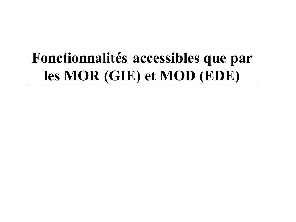 Fonctionnalités accessibles que par les MOR (GIE) et MOD (EDE)