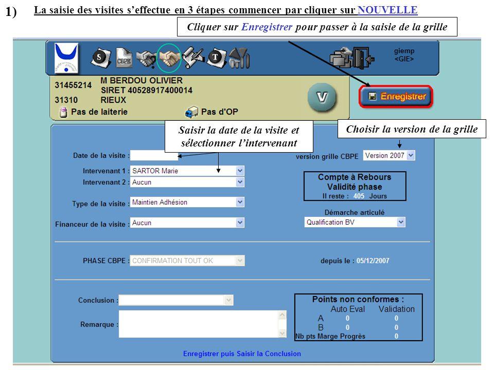 La saisie des visites s'effectue en 3 étapes commencer par cliquer sur NOUVELLE Saisir la date de la visite et sélectionner l'intervenant Choisir la v