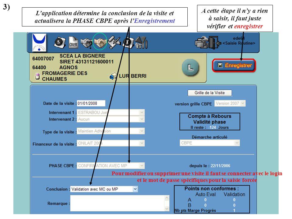 L'application détermine la conclusion de la visite et actualisera la PHASE CBPE après l'Enregistrement 3) A cette étape il n'y a rien à saisir, il fau