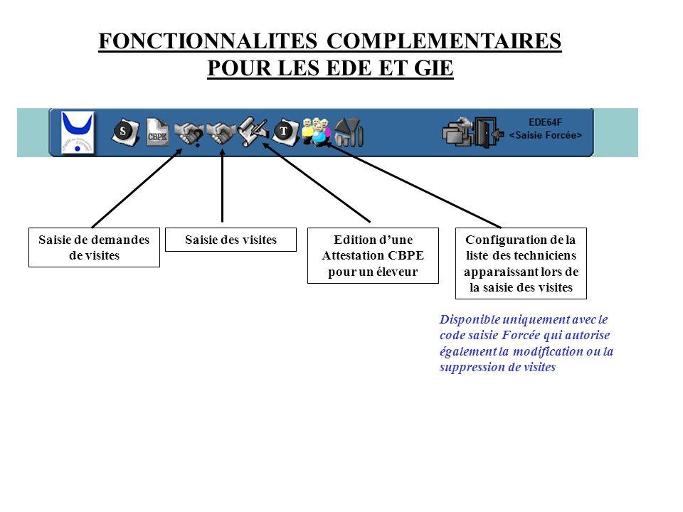 FONCTIONNALITES COMPLEMENTAIRES POUR LES EDE ET GIE Saisie de demandes de visites Saisie des visitesConfiguration de la liste des techniciens apparais