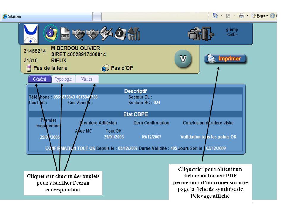 Cliquer sur chacun des onglets pour visualiser l'écran correspondant Cliquer ici pour obtenir un fichier au format PDF permettant d'imprimer sur une p