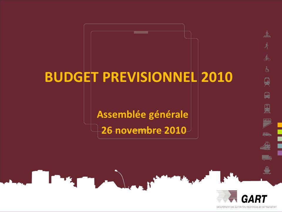 1 BUDGET PREVISIONNEL 2010 Assemblée générale 26 novembre 2010