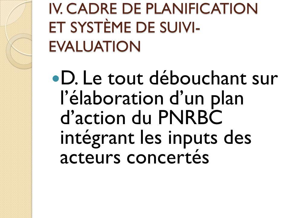 IV.CADRE DE PLANIFICATION ET SYSTÈME DE SUIVI- EVALUATION D.