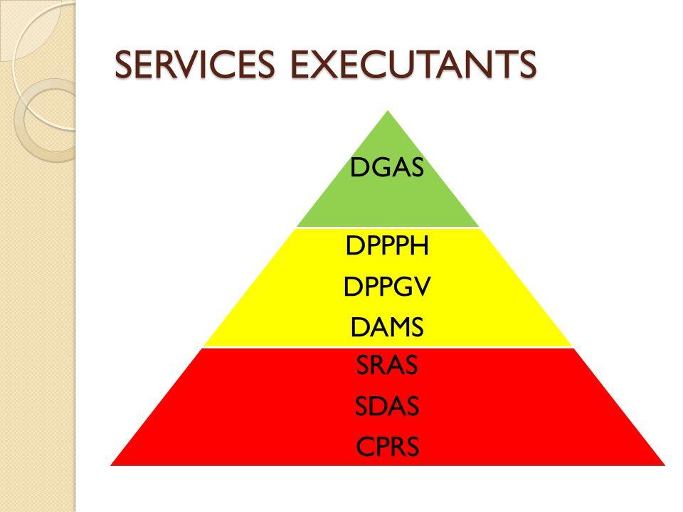 DGAS DPPPH DPPGV DAMS SRAS SDAS CPRS SERVICES EXECUTANTS