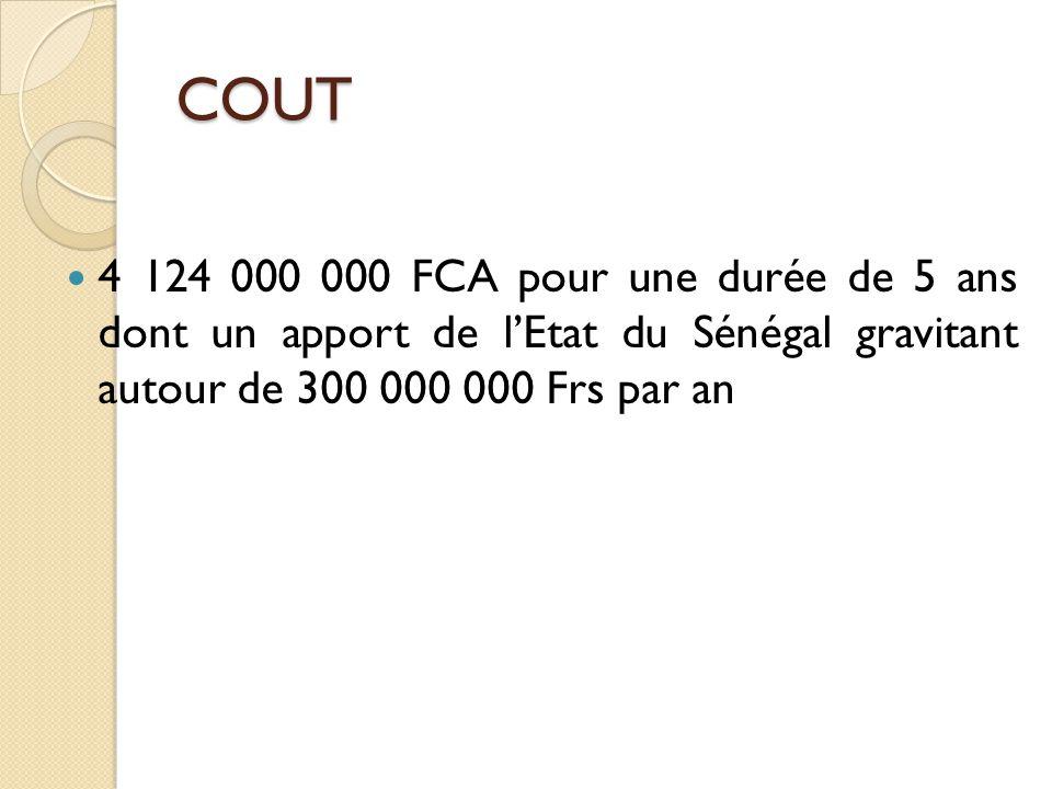 4 124 000 000 FCA pour une durée de 5 ans dont un apport de l'Etat du Sénégal gravitant autour de 300 000 000 Frs par an COUT