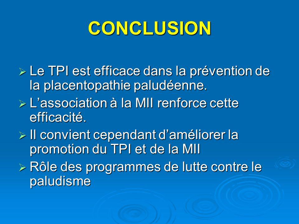 CONCLUSION  Le TPI est efficace dans la prévention de la placentopathie paludéenne.  L'association à la MII renforce cette efficacité.  Il convient
