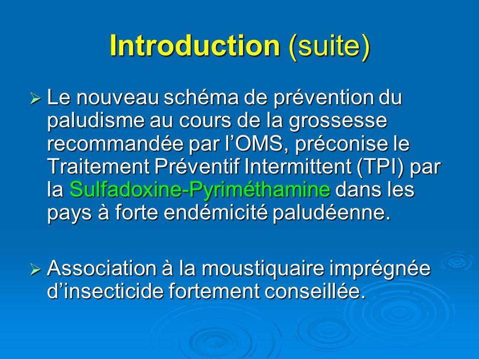 Introduction (suite)  Le nouveau schéma de prévention du paludisme au cours de la grossesse recommandée par l'OMS, préconise le Traitement Préventif
