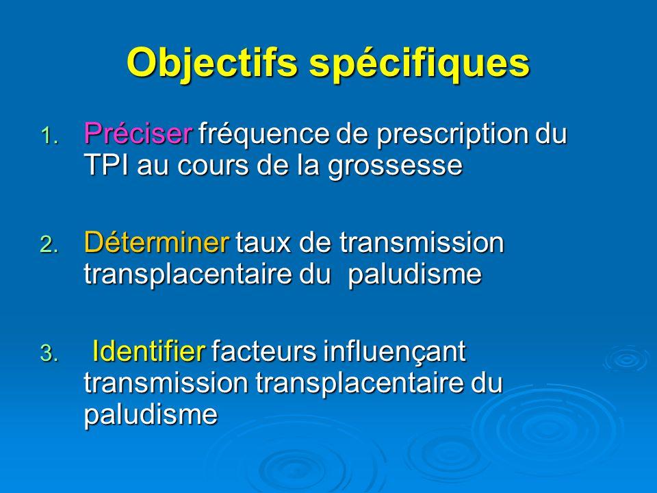 Objectifs spécifiques 1. Préciser fréquence de prescription du TPI au cours de la grossesse 2. Déterminer taux de transmission transplacentaire du pal