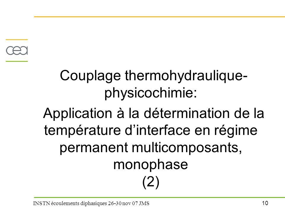 10 INSTN écoulements diphasiques 26-30 nov 07 JMS Couplage thermohydraulique- physicochimie: Application à la détermination de la température d'interf