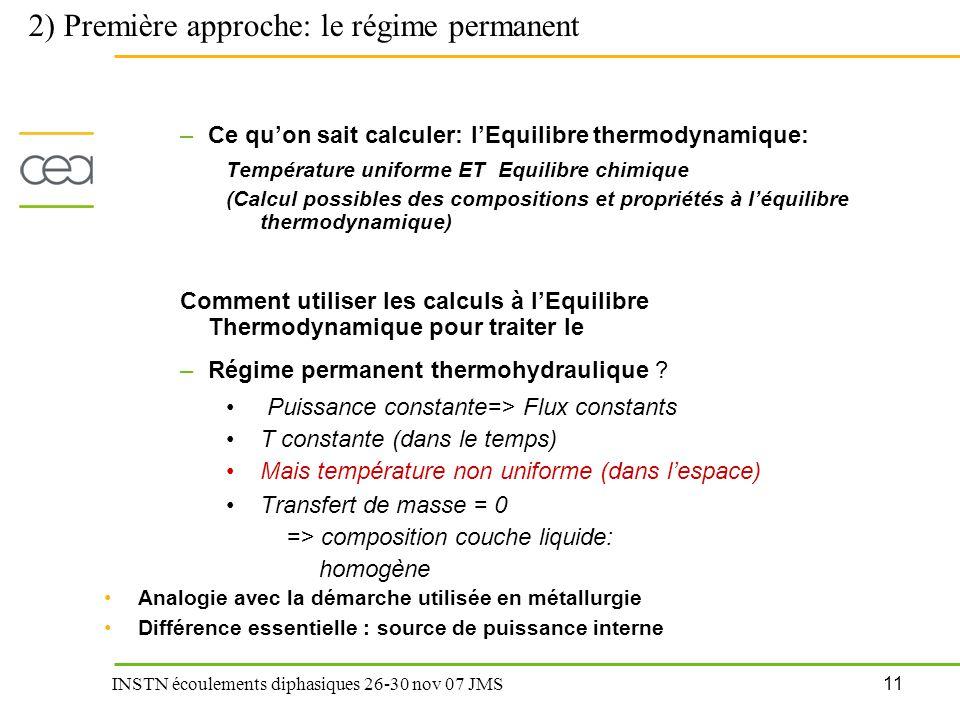 11 INSTN écoulements diphasiques 26-30 nov 07 JMS –Ce qu'on sait calculer: l'Equilibre thermodynamique: Température uniforme ET Equilibre chimique (Ca