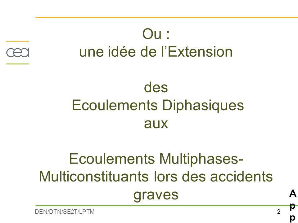 2DEN/DTN/SE2T/LPTM Ou : une idée de l'Extension des Ecoulements Diphasiques aux Ecoulements Multiphases- Multiconstituants lors des accidents graves A