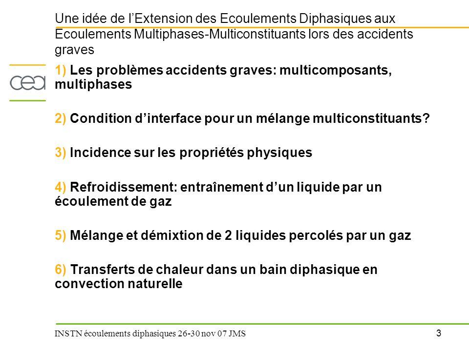4 INSTN écoulements diphasiques 26-30 nov 07 JMS Les problèmes accidents graves: multiphases, multicomposants (1)