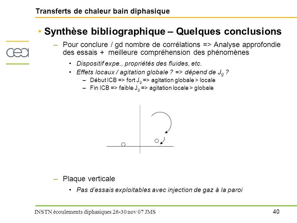 40 INSTN écoulements diphasiques 26-30 nov 07 JMS Transferts de chaleur bain diphasique Synthèse bibliographique – Quelques conclusions –Pour conclure