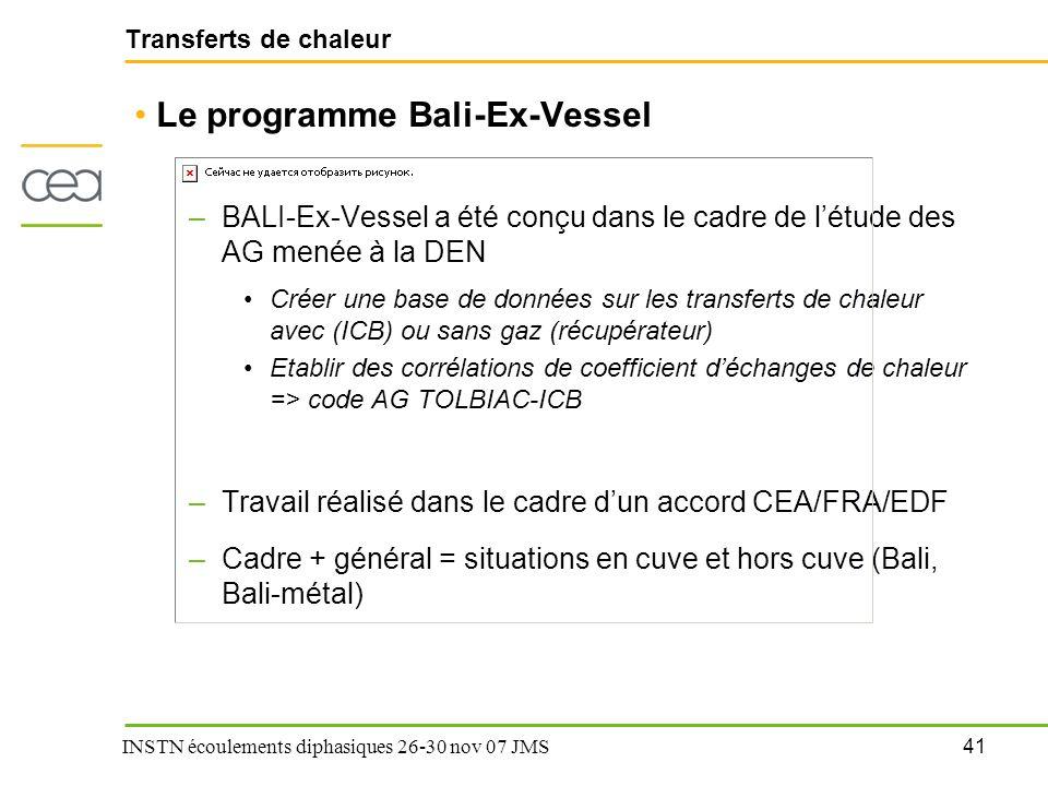 41 INSTN écoulements diphasiques 26-30 nov 07 JMS Transferts de chaleur Le programme Bali-Ex-Vessel –BALI-Ex-Vessel a été conçu dans le cadre de l'étu