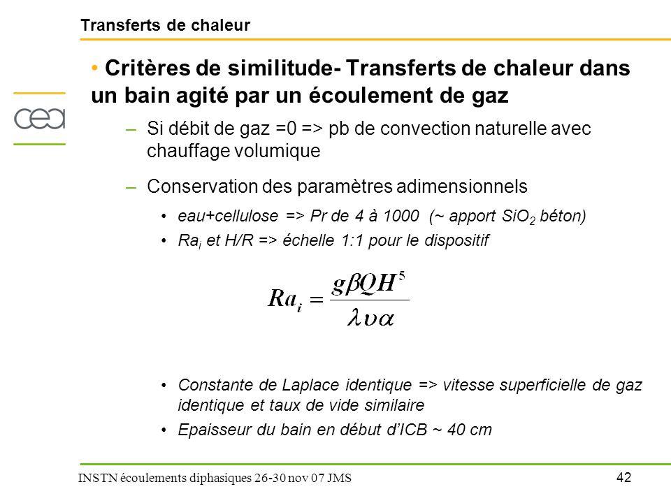 42 INSTN écoulements diphasiques 26-30 nov 07 JMS Transferts de chaleur Critères de similitude- Transferts de chaleur dans un bain agité par un écoule