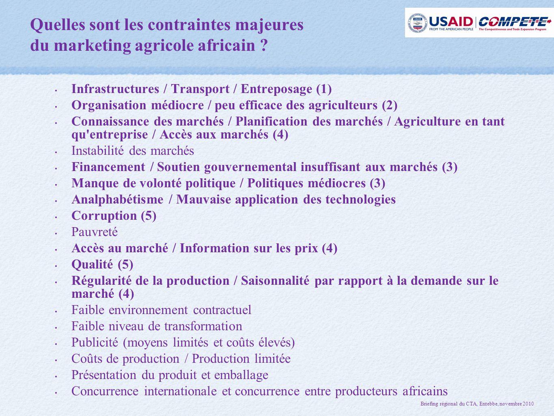 Quelles sont les contraintes majeures du marketing agricole africain .