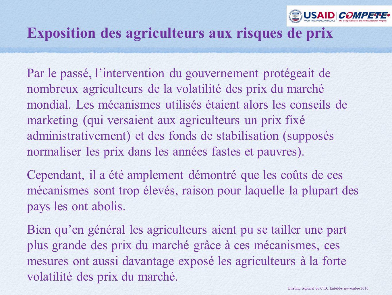 Exposition des agriculteurs aux risques de prix Par le passé, l'intervention du gouvernement protégeait de nombreux agriculteurs de la volatilité des prix du marché mondial.