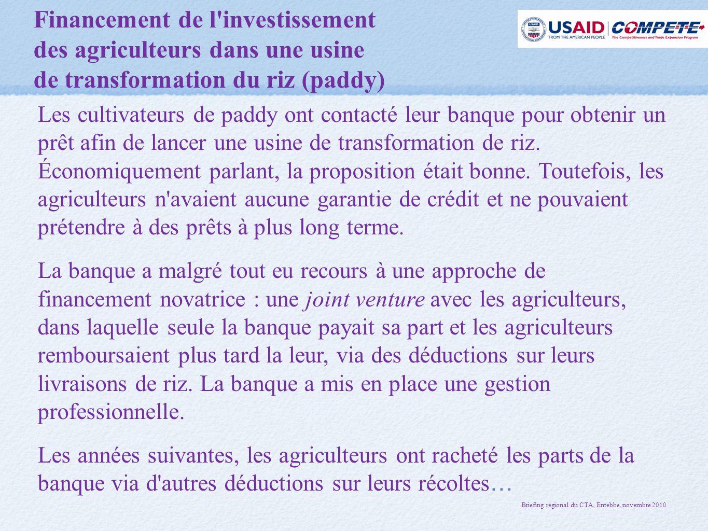 Financement de l investissement des agriculteurs dans une usine de transformation du riz (paddy) Les cultivateurs de paddy ont contacté leur banque pour obtenir un prêt afin de lancer une usine de transformation de riz.