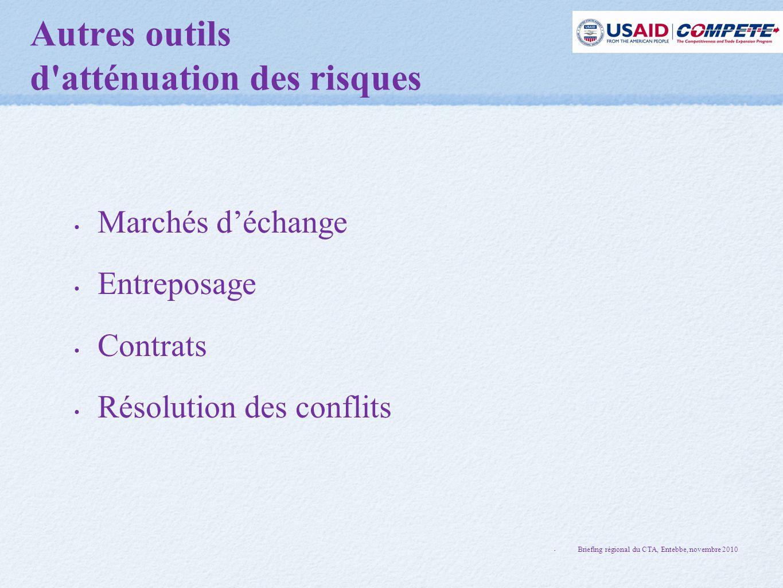 Autres outils d atténuation des risques Marchés d'échange Entreposage Contrats Résolution des conflits Briefing régional du CTA, Entebbe, novembre 2010