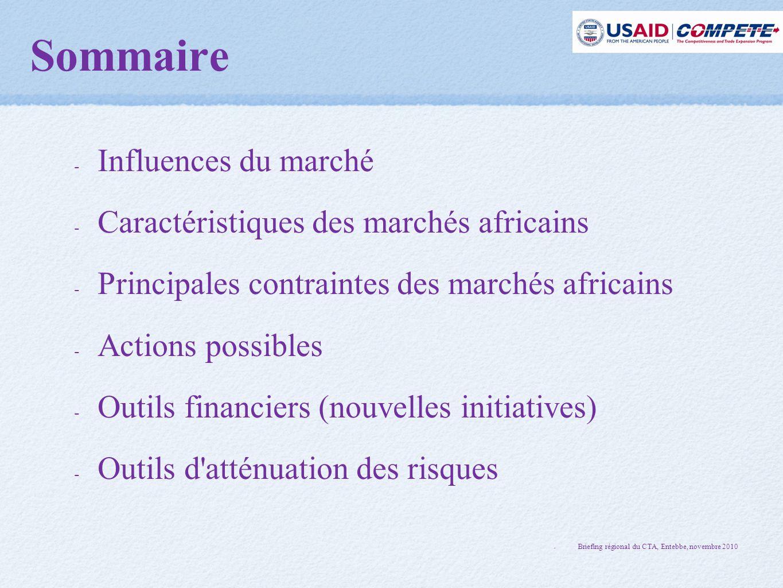 Sommaire - Influences du marché - Caractéristiques des marchés africains - Principales contraintes des marchés africains - Actions possibles - Outils financiers (nouvelles initiatives) - Outils d atténuation des risques - Briefing régional du CTA, Entebbe, novembre 2010 Briefing régional du CTA, Entebbe, novembre 2010