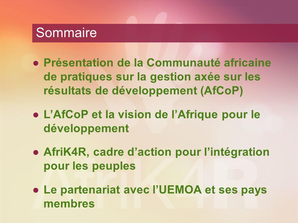 AfCoP – Contexte historique Déclaration de Paris CoP Asie (2005) CoP Afrique (2007) CoP Amérique latine (2006) Initiative d'apprentissage mutuel