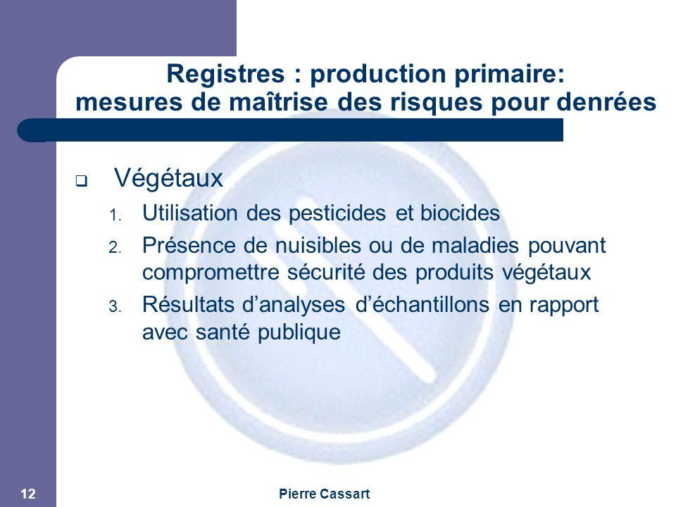 JPM Pierre Cassart 12 Registres : production primaire: mesures de maîtrise des risques pour denrées alimentaires  Végétaux 1. Utilisation des pestici