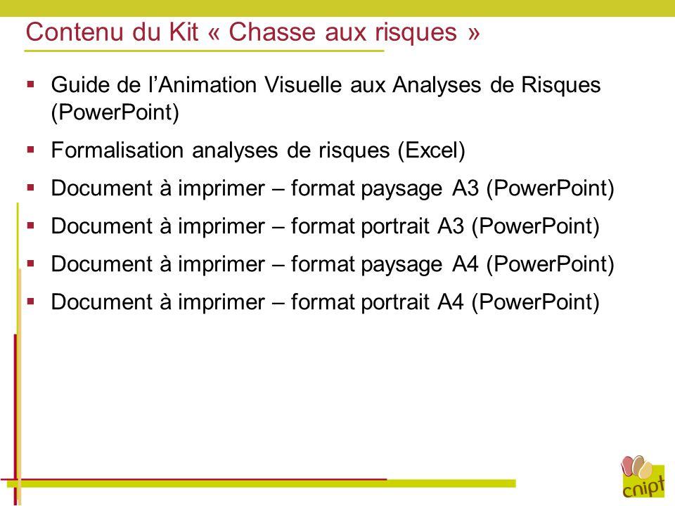 Contenu du Kit « Chasse aux risques »  Guide de l'Animation Visuelle aux Analyses de Risques (PowerPoint)  Formalisation analyses de risques (Excel)