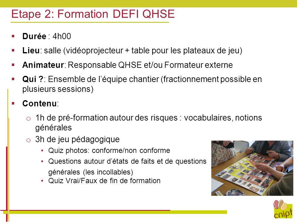  Durée : 4h00  Lieu: salle (vidéoprojecteur + table pour les plateaux de jeu)  Animateur: Responsable QHSE et/ou Formateur externe  Qui ?: Ensembl