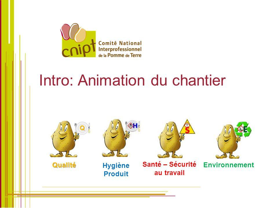 Intro: Animation du chantier Hygiène Produit Santé – Sécurité au travail Environnement Qualité